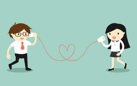 Business concept, Liefde in het kantoor. Zakenman en zakelijke vrouw praten via de kop telefoon. Vector illustratie. Vector Illustratie