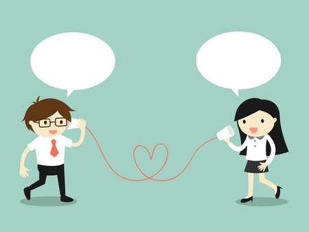 Business concept, Liefde in het kantoor. Zakenman en zakelijke vrouw praten via de kop telefoon. Vector illustratie.