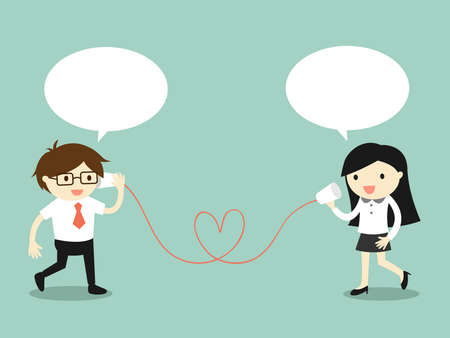 listener: Business concept, Love in office. Businessman and business woman talking via cup telephone. Vector illustration.