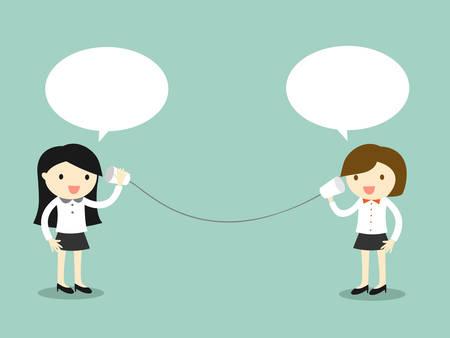 Business-Konzept, Zwei Business-Frau im Gespräch über Tasse Telefon. Vektor-Illustration.