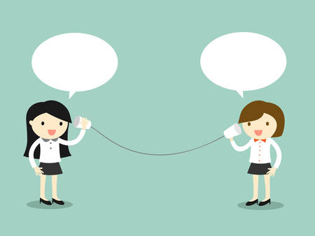 Concepto de negocio, de dos mujeres de negocios hablando por teléfono taza. Ilustración del vector.
