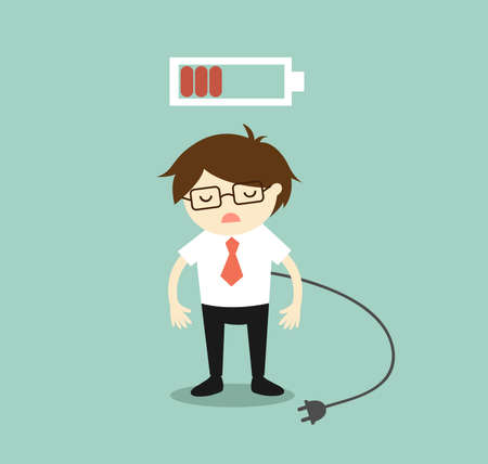 Business concept, Businessman feeling tired and low battery. Vector illustration.