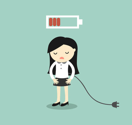 charge: Business concept, Business woman feeling tired and low battery. Vector illustration.