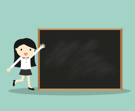 Business concept, Business woman standing in front of blackboard for presentation. Vector illustration. 矢量图像