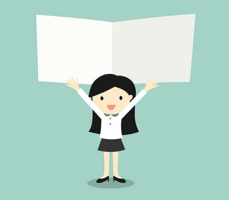 holding notes: Business concept, Business women holding blank notes with green background. Vector illustration.