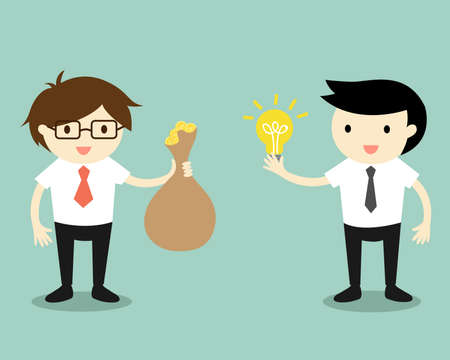 cash cycle: Business concept, Two businessmen give idea and money for exchange. Vector illustration. Illustration