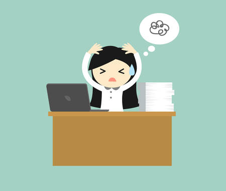 Business concept, Business woman feeling stressed and hard working. Vector illustration.