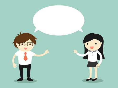 Geschäftskonzept, Geschäftsmann und Geschäftsfrau, die das gleiche oder das gleiche Ideenkonzept sprechen. Vektorillustration.