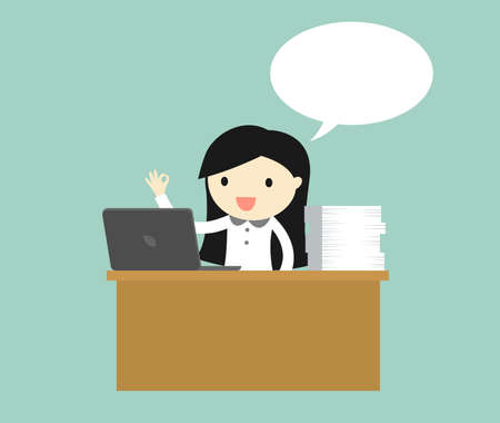 Business concept, Business woman working hard on her desk in office. Vector illustration. Çizim