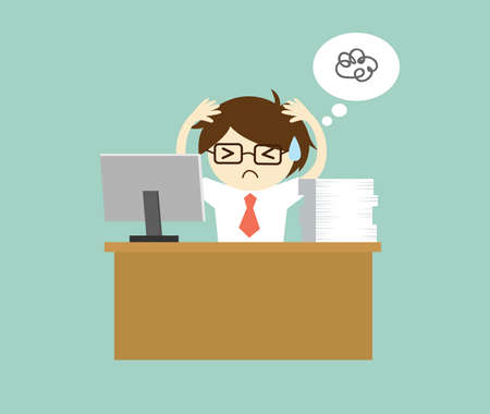overworking: Business concept, Businessman feeling stressed and hard working. Vector illustration.