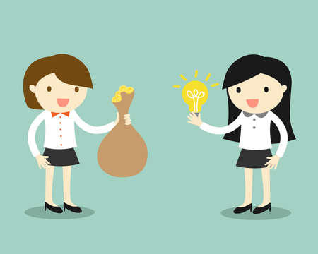 women and money: Business concept, Two business women give idea and money for exchange. Vector illustration. Illustration