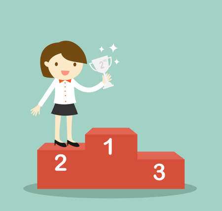 2nd: Business concept, business woman standing on 2nd winning podium and holding silver trophy. Vector illustration.