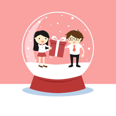love dome: Snow globe with a woman and a man inside, Valentines day concept. Flat style cartoon.