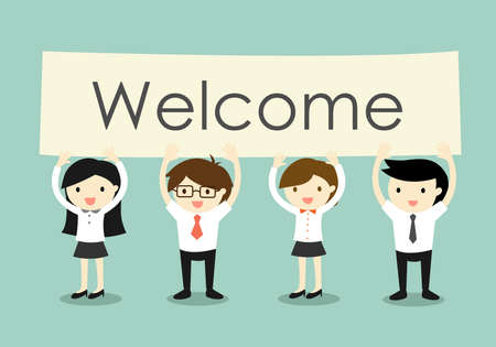 Business concept, Businessman and business women holding Welcome signboard with green background.