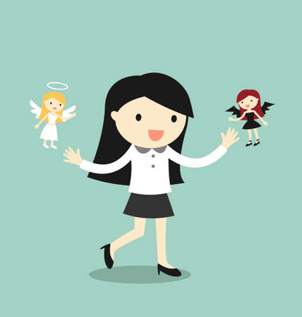 ethics and morals: Business concept, Business woman with angel and devil. Vector illustration.