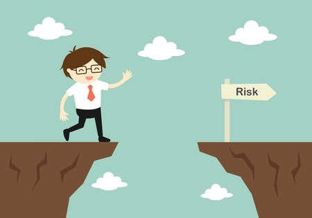Business concept, homme d'affaires est négligent en courant devant un fossé. Vector illustration.