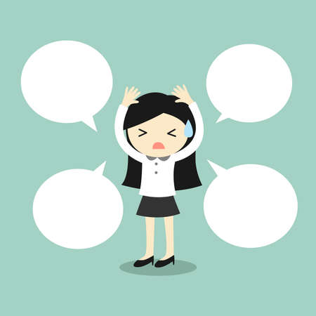 Business concept, Business woman with speech bubble. Vector illustration. Vettoriali