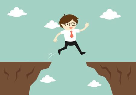 Concepto de negocio, hombre de negocios salta a través del espacio a otro acantilado. Ilustración del vector.