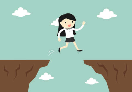 Business concept, business woman jump through the gap to another cliff. Vector illustration.