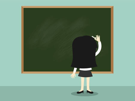 business woman standing: Business concept, Business woman standing in front of green chalkboard and writing. Vector illustration.