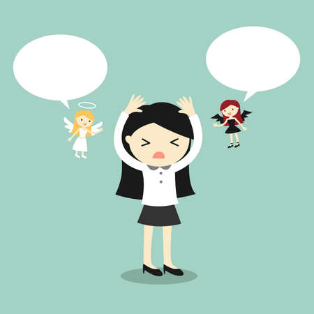 teufel und engel: Business-Konzept, Geschäftsfrau mit Engel und Teufel und Blase Rede. Vektor-Illustration.