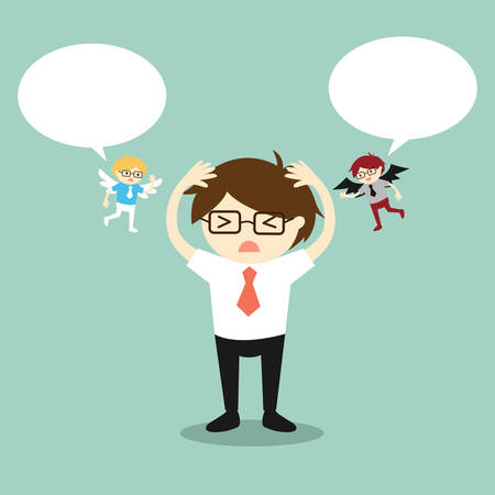 indecisive: Business concept, Businessman with angel and devil and bubble speech. Vector illustration.