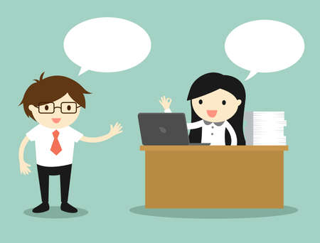 trabajando duro: Concepto de negocio, mujer de negocios que trabaja en su escritorio mientras habla con el empresario. Ilustraci�n del vector. Vectores