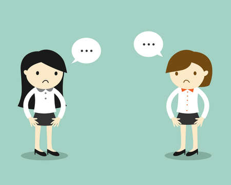 Business concept, Two business women feeling awkward with each other. Vector illustration.