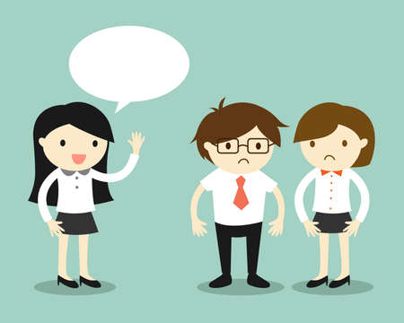 Business concept, business women talking but her coworkers feeling awkward. Vector illustration. Illustration