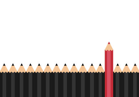 tip style design: Red color pencil standing out from dull pencils. Think different concept.