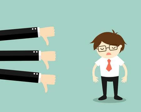 Business concept, businessman get bad feedback. Vector illustration.