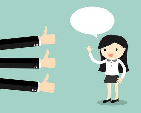 business woman: Business concept, business woman get good feedback. Vector illustration.