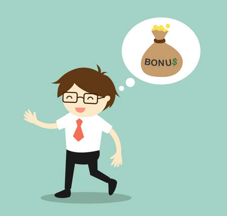 Business concept, Businessman thinking about bonus and feeling happy. Vector illustration.