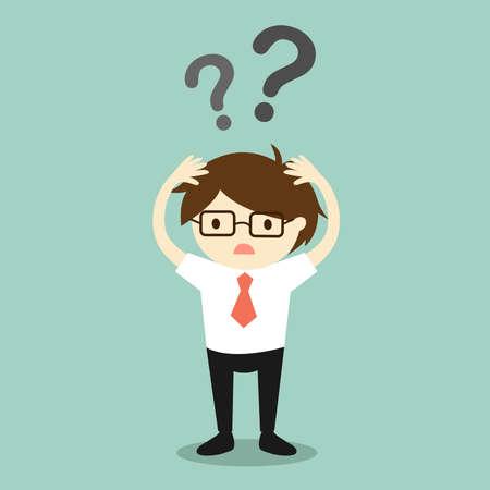 Business concept, Businessman feeling confused. Vector illustration.