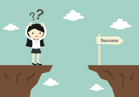 Business concept, zakenvrouw is verwarrend over hoe u over naar een andere klif. Vector illustratie. Vector Illustratie