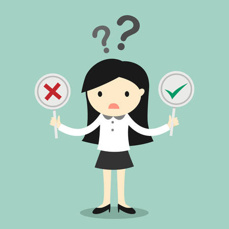 true or false: Business concept, Business woman is confused about true or false. Vector illustration. Illustration