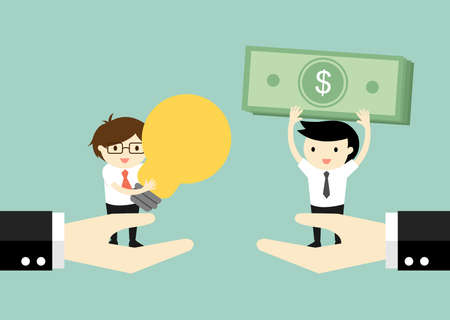 exchanging: Business concept. Two businessmen standing on big hands exchanging money for idea. Vector illustration. Illustration
