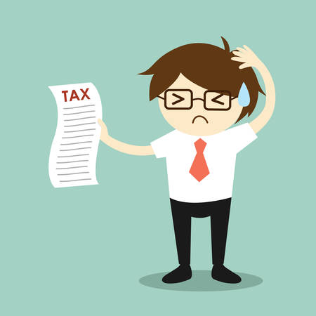 financial burden: Business concept, businessman feeling stressed about tax. Vector illustration. Illustration