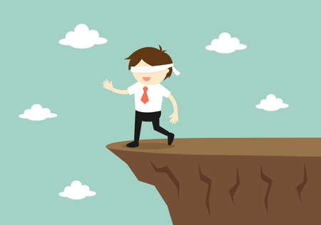finding: Business concept, Blindfolded businessman is walking to the cliff. Vector illustration.