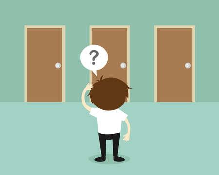 Business-Konzept, Geschäftsmann ist verwirrend über Baum Türen. Vektor-Illustration. Vektorgrafik