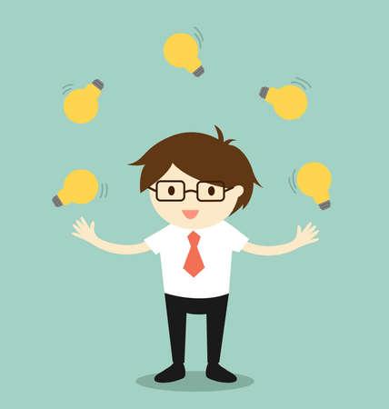 Concepto de negocio, empresario malabarismo muchas bombillas.