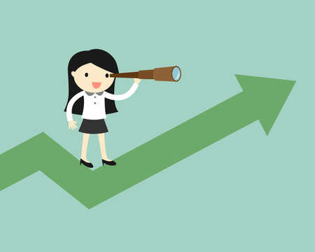financial adviser: Business concept, Business woman is using her telescope while standing on the up chart.