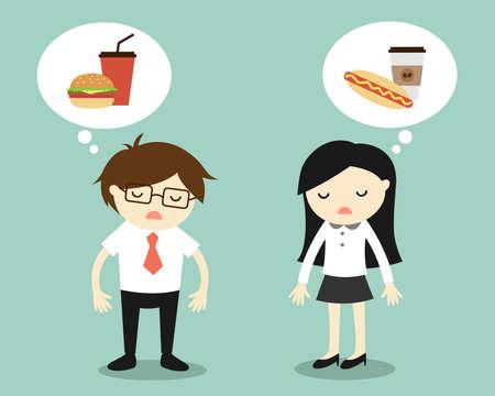 Concepto de negocio, hombre de negocios y de la mujer sentirse cansado y pensando en la comida. Ilustración de vector