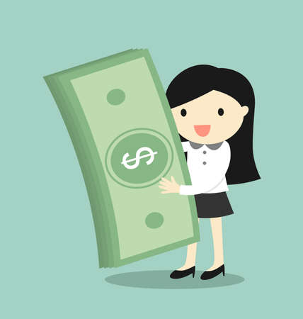 wealthy lifestyle: Business concept, Business woman is holding money and feeling happy. Illustration