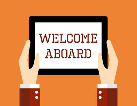 welcome to: Business concept, Welcome aboard. Illustration