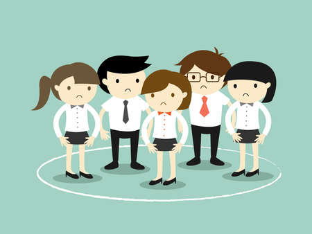 stuck: Business concept, business people are stuck in the circle. Vector illustration.