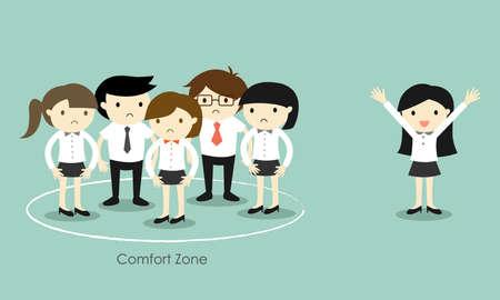 concetto di business, Business donna in piedi fuori dalla zona di comfort. illustrazione di vettore Vettoriali