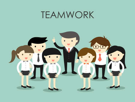 Business concept, Group of business people, Teamwork concept. Vector illustration.