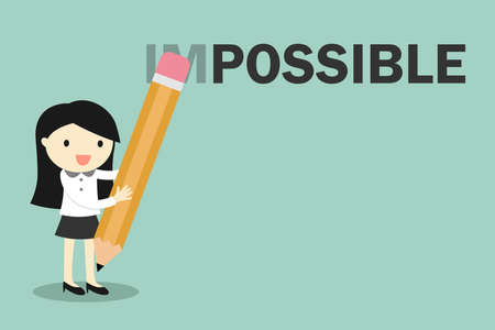 erase: Business concept, Business woman holding pencil erase impossible to possible. Vector illustration. Illustration