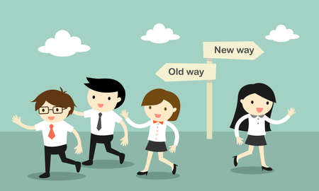 two roads: A group of business people walking to the old way, but business another woman walk to the new way. Illustration